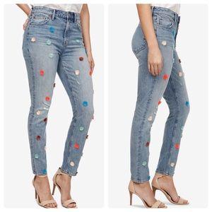 Lucky Brand Bridgette Pompom Hi-Rise Skinny Jeans